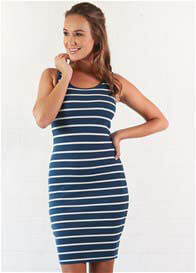 Queen Bee Rachel Blue Striped Nursing Tank Dress by Trimester Clothing