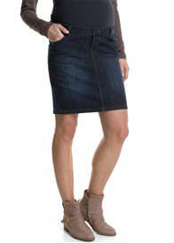 Queen Bee Over Bump Dark Blue Wash Denim Maternity Skirt by Esprit