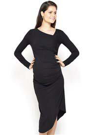 Queen Bee Karina Asymmetrical Maternity Dress in Black by Imanimo
