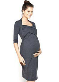 Queen Bee Stella Sweetheart Maternity Dress in Grey by Imanimo