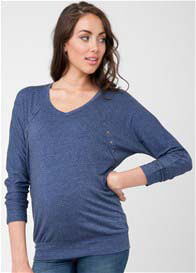 Queen Bee Batwing Maternity Nursing T-Shirt in Blue by Ripe Maternity