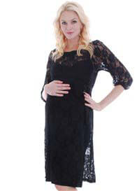Queen Bee Arianna Lace Maternity Dress in Black by Everly Grey