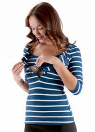 Queen Bee Lilianne Breastfeeding Henley in Navy Stripe by Trimester Clothing