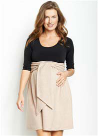 Queen Bee Front Tie Maternity Dress in Black/Camel by Maternal America
