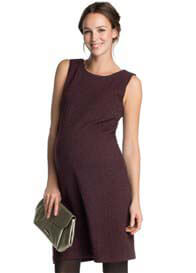 Queen Bee Boucle-Textured Sleeveless Maternity Dress in Burgundy by Esprit