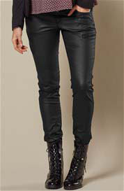 Queen Bee Black Coated Denim Skinny Biker Maternity Pants by Queen mum