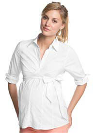 Queen Bee Collared Maternity Work Shirt in White by Esprit