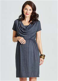 Queen Bee Avery Cowl Neck Maternity Nursing Dress in Grey by Milky Way