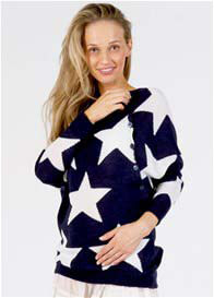 Queen Bee Shine Knit Maternity Nursing Jumper in Navy Print by Fillyboo