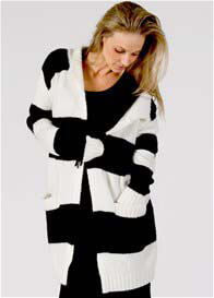 Queen Bee Nevermind Knit Maternity Cardigan in Black Stripe by Fillyboo