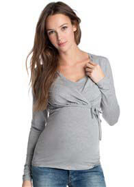 Queen Bee Glimmer Long Sleeve Maternity Nursing Top in Grey by Esprit