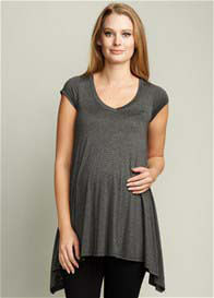 Queen Bee Urban V-Neck Maternity Tunic in Charcoal by Maternal America