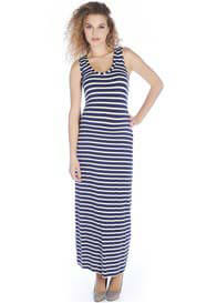 Queen Bee Betty Maternity Maxi Tank Dress in Blue Stripes by Queen mum