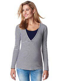 Queen Bee Long Sleeve Maternity Nursing Top in Rich Navy Stripes by Esprit