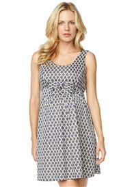 Queen Bee Blue Mosaic Print Bow Maternity Dress by Maternal America