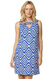 Queen Bee Blue Tapestry Print Keyhole Maternity Dress by Maternal America