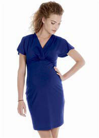 Queen Bee Flutter Sleeve Maternity Dress in Blue by Queen mum