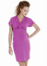 Queen Bee Flutter Sleeve Maternity Dress in Pink by Queen mum