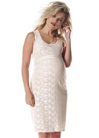 Queen Bee Ecru (Off-White) Lace Maternity Dress by Queen mum