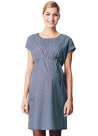 Queen Bee Lightweight Viscose Maternity Dress in Navy Print by Esprit