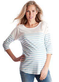 Queen Bee Blue Striped Cotton Maternity Nursing Top by Seraphine