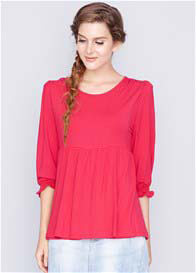 Queen Bee Serena Bamboo Maternity Nursing Top in Raspberry by Dote