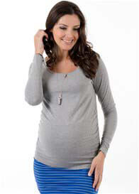 Queen Bee It Must Be Fate Long Sleeve Maternity Tee in Grey by Trimester