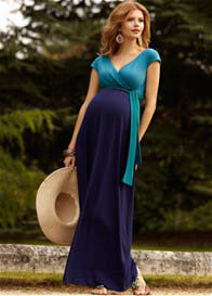Queen Bee Jewel Block Maternity Maxi Dress in Biscay Blue by Tiffany Rose
