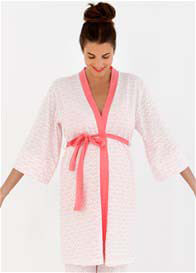 Queen Bee Hana Maternity Kimono Robe in Coral Print by Belabumbum