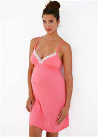 Queen Bee Hana Maternity Nursing Chemise in Coral by Belabumbum