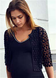 Queen Bee Cropped Black Lace Maternity Jacket by Queen mum