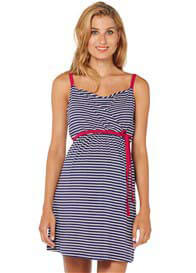 Queen Bee Navy Blue Striped Maternity Nursing Cami Dress by Esprit