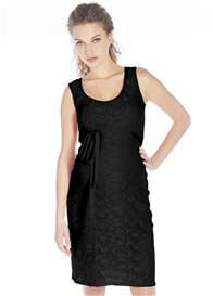 Queen Bee Black Sleeveless Lace Maternity Dress by Queen mum