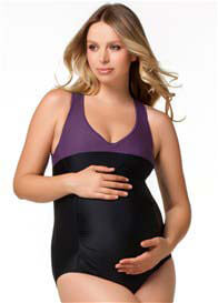 Queen Bee Smoothie Sports One-Piece Maternity Swimsuit by Rosewater by Cake