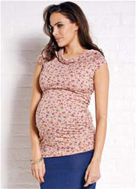 Queen Bee Pink Floral Cowl Neck Maternity Nursing Top by Quack Nursingwear