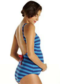 Queen Bee French Blue Striped One Piece Maternity Swimsuit by Pez DOr