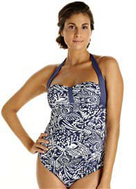 Queen Bee Blue Ocean Print One Piece Maternity Swimsuit  by Pez DOr