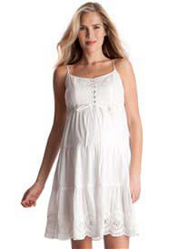 Queen Bee Summer White Maternity Cotton Cami Dress by Seraphine