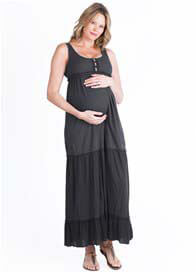 Queen Bee Jenna Tiered Maternity Maxi Dress in Raven by LA Made