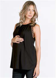 Queen Bee Sophia Lace Trim Maternity Cami Top in Black by LA Made