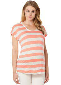 Queen Bee Cissy Maternity T-Shirt in Peach Stripe by Noppies