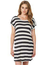Queen Bee Cerise Maternity Beach Dress in Charcoal Stripe by Noppies