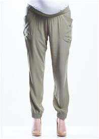 Queen Bee Lightweight Relaxed Maternity Pants in Khaki by Soon Maternity