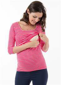 Queen Bee Brayden 3/4 Sleeve Nursing Top in Pink Stripe by Floressa