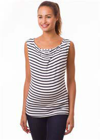 Queen Bee Milkizzy Marie Nursing Top in Blue Stripes by Pomkin