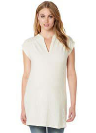 Queen Bee Ione Cotton Maternity Tunic Mini-Dress in Off-White by Noppies