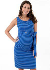 Queen Bee Taylor Maternity Shift Dress in Blue Stripe by Trimester Clothing