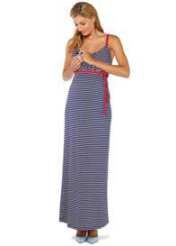 Queen Bee Maternity Nursing Cami Maxi Dress in Navy Stripes by Esprit