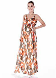 Queen Bee Stephanie Maternity Maxi Dress in Orange Print by Imanimo