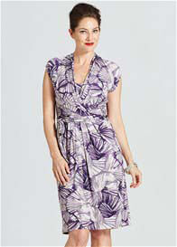 Queen Bee Evita Maternity Nursing Dress in Purple Print by Milky Way